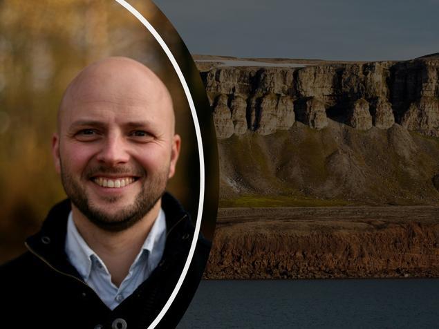 Pål portrettbilde over bakgrunn med Svalbard-fjell.