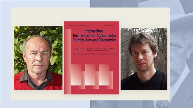Steinar Andresen and Jon Birger Skjærseth with the cover page of the INEA Journal