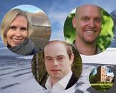 Goerild Heggelund, Oystein Jensen and Tor Hakon Jackson Inderberg at FNI on a polar background.