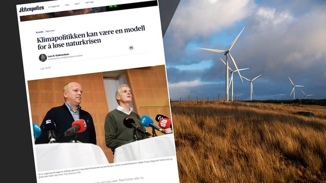 Faksimile av avissiden med kronikken samt bile fra vindkraftanlegg på Jæren (Jarle Aasgaard)