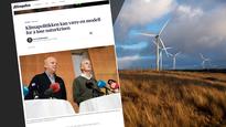 Faksimile av avissiden med kronikken samt bile fra vindkraftanlegg på Jæren (Jarle Aasland)