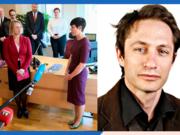 Til venstre: nøkkeloverlevering i Utenriksdepartementet. Til høyre: Henrik Thune. Foto: Utenriksdepartementet