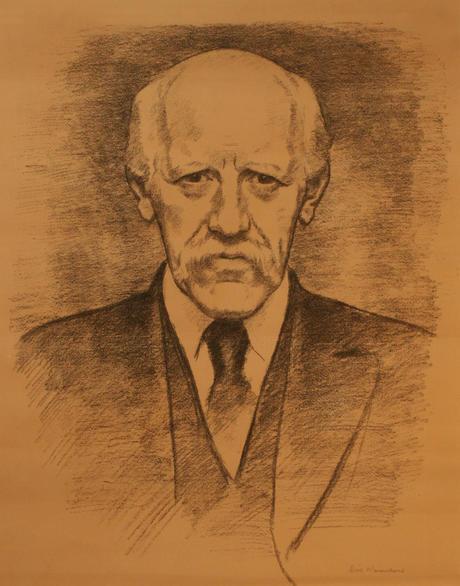 Fridtjof Nansen, portrett tegnet av Erik Werenskiold 1924