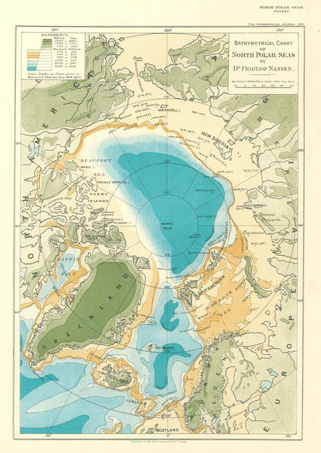 Bathymetrical map of the Arctic Ocean