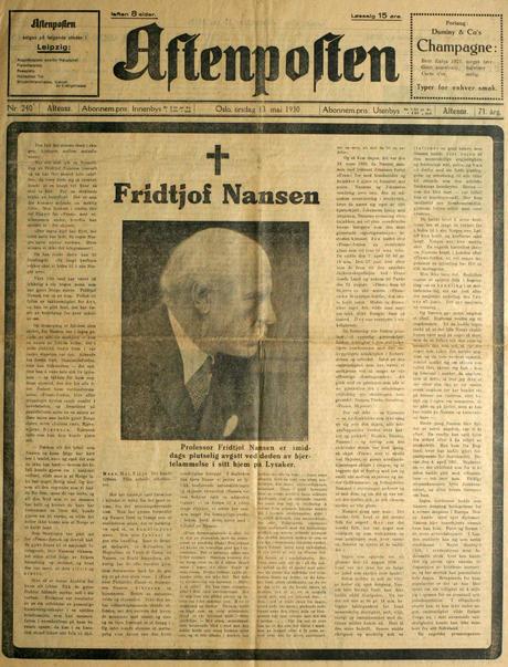 Aftenposten: Fridtjof Nansen dies
