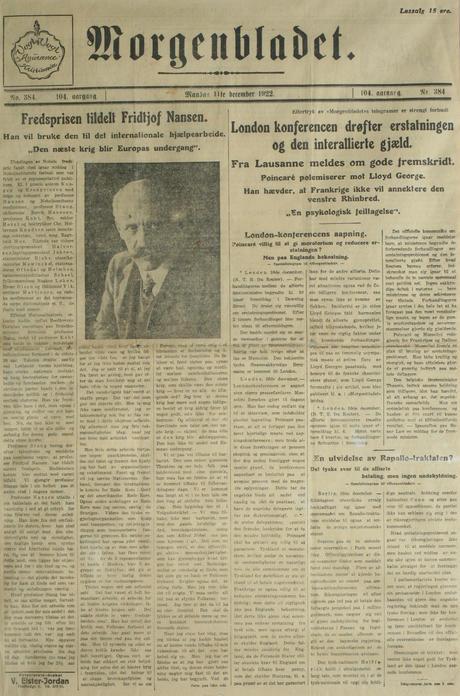 Morgenbladet: Fredsprisen tildelt Fridtjof Nansen