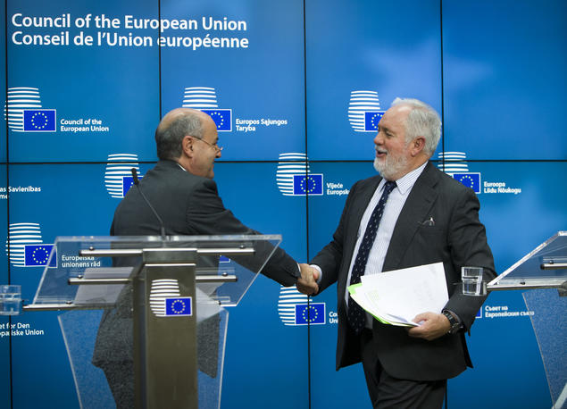 Mr. José A. Herrera, Maltese Minister for Sustainable Development, the Environment and Climate Change greets Mr Miguel Arias Canete of the European Commission after the Council vote 28 february.