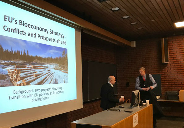 Per Ove Eikeland and Tomas Kåberger during the seminar held at the University of Oslo 14 March.
