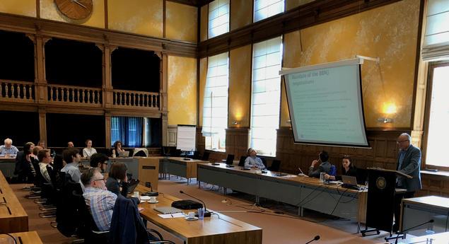 Christian Prip speaks at Utrecht University.