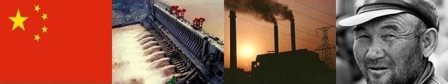 Ikoner for kinesisk miljøpolitikk. Kinesisk flagg, vannkraftverk, rykende fabrikkpiper og en kinesisk arbeider